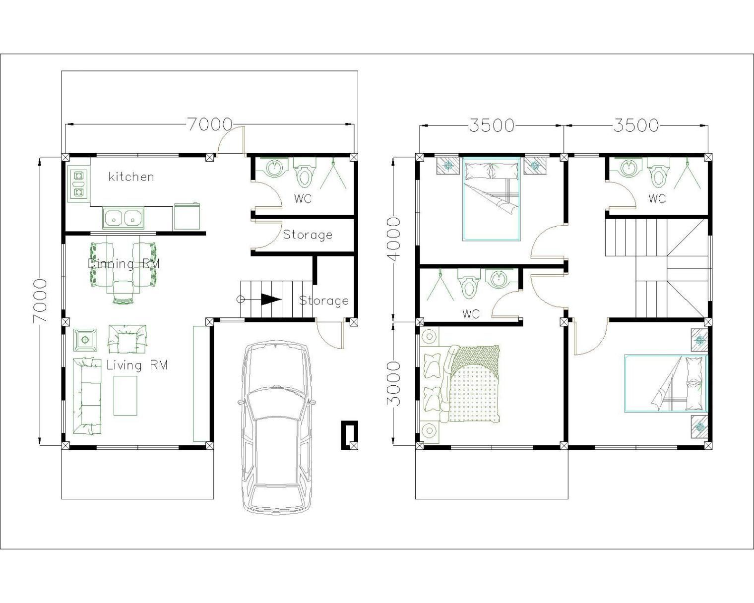 House Plans 7x7m with 3 Bedrooms (With images) House