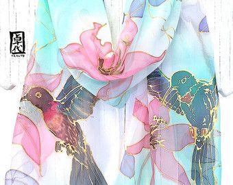 Pintado a mano bufanda de seda, bufanda de pájaro, regalos únicos, japonesa  bufanda bfb8bc8103