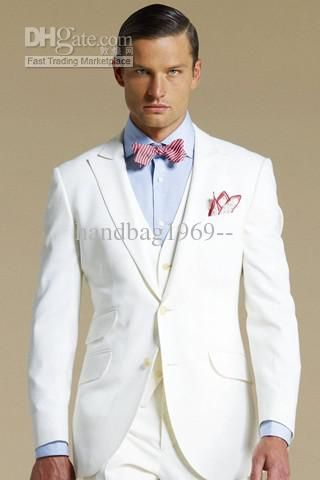 Two buttons Groom Tuxedos White Men's Wedding Suits best man suit ...