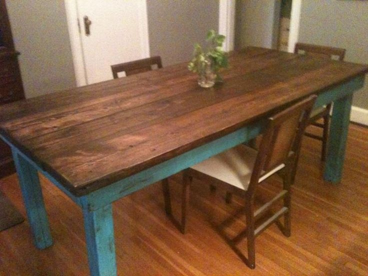Think i prefer the whole table to be the same color no painted parts dining pinterest - Painted dining tables distressed ...
