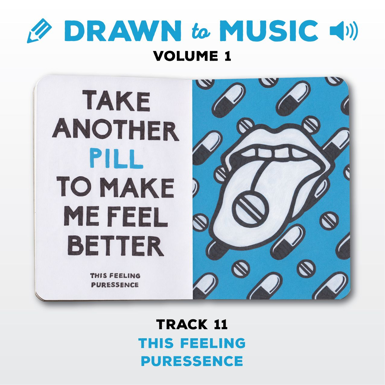 Drawn to Music - Volume 1 : Track 11 - This Feeling by Puressence #sketchbookproject2017 #drawntomusic #volume1 #S164511 #halfandhalf #blackwhiteandblue #thisfeeling #puressence
