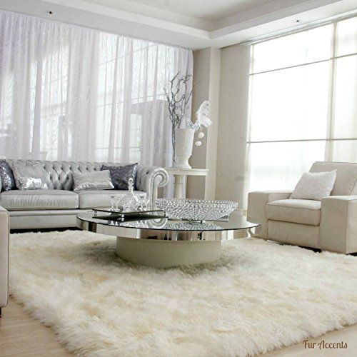 Plush Faux Fur Gy Soft Sheepskin Pelt Rug Rectangle With Natural Edges Realisticwhite Or Off White Ultra Suede Backing Area