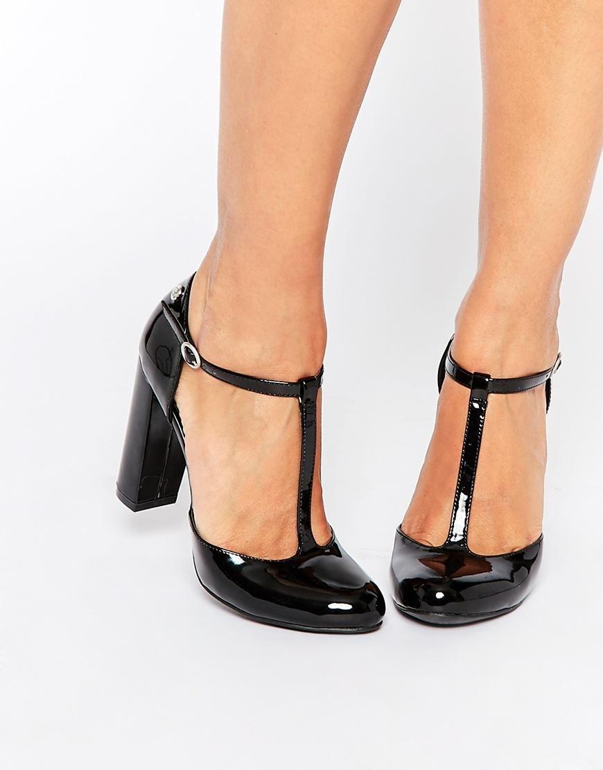 9b26b0ddc2a Blink Patent T-Bar Black Heeled Shoes