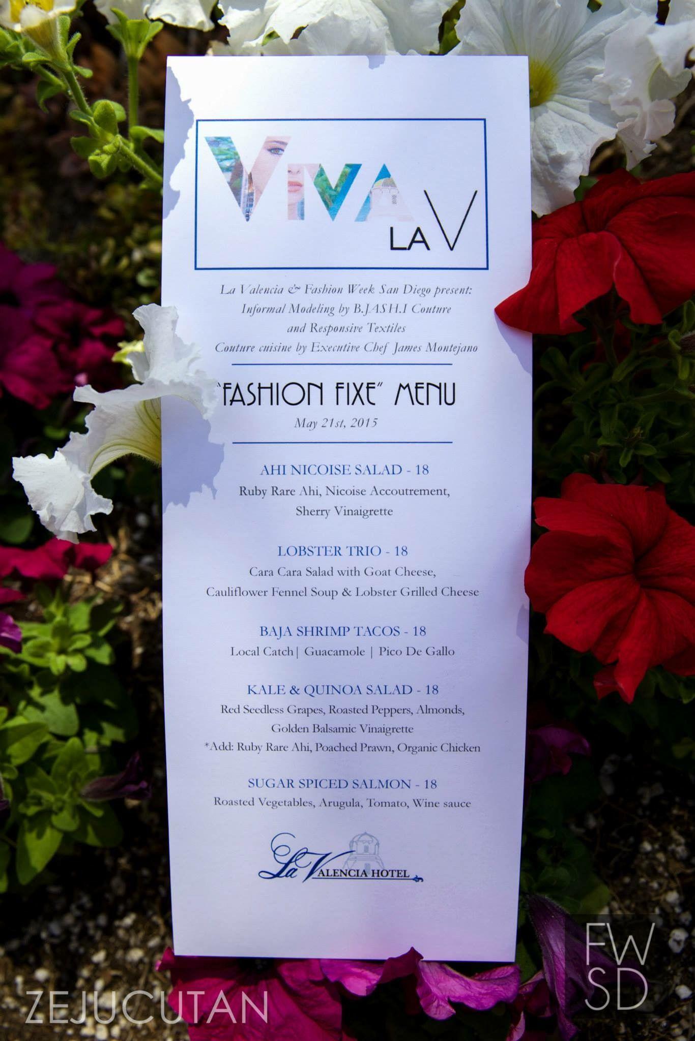 Exquisite Menu For Fwsd 2015 Viva La V At La Valencia Hotel La