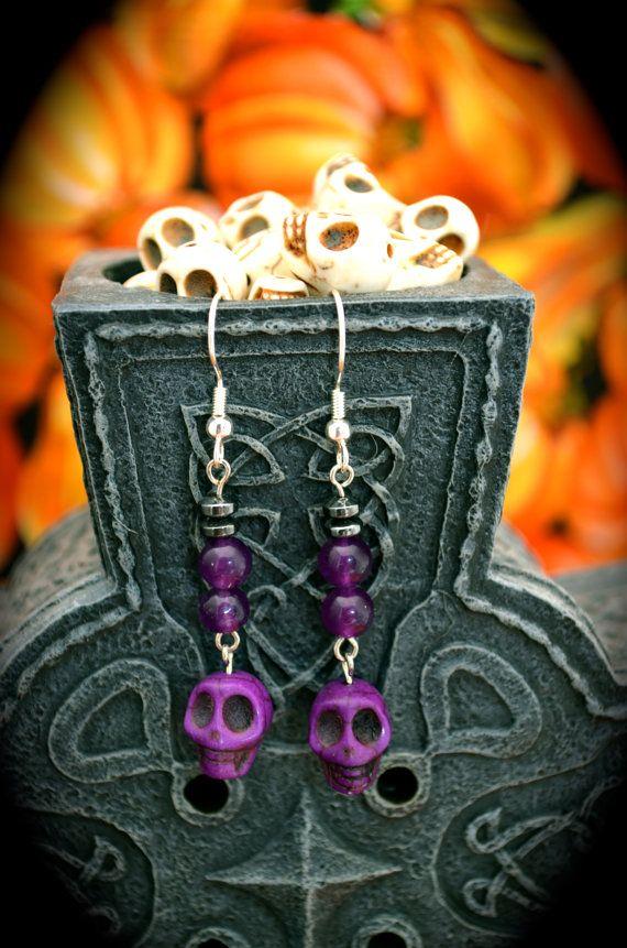 purple ceramic skulls round purple glass by aimeeNandysEarrings, $12.00