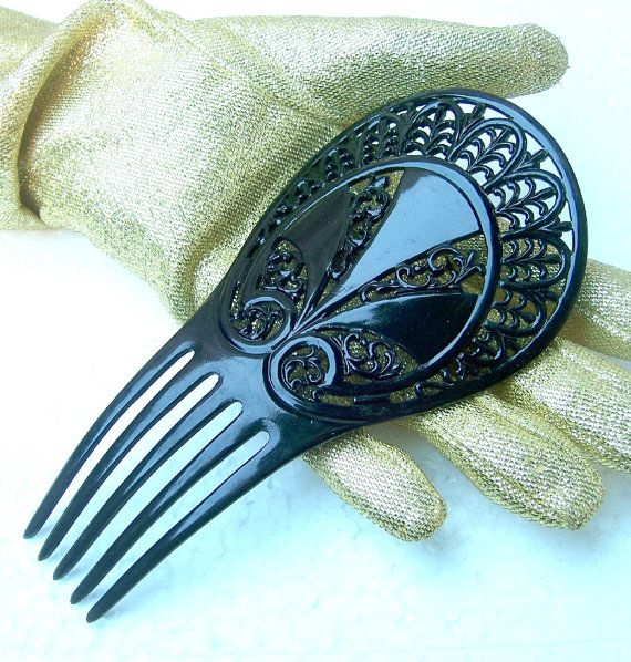 Vintage hair comb Victorian black celluloid mourning hair accessory Spanish mantilla style
