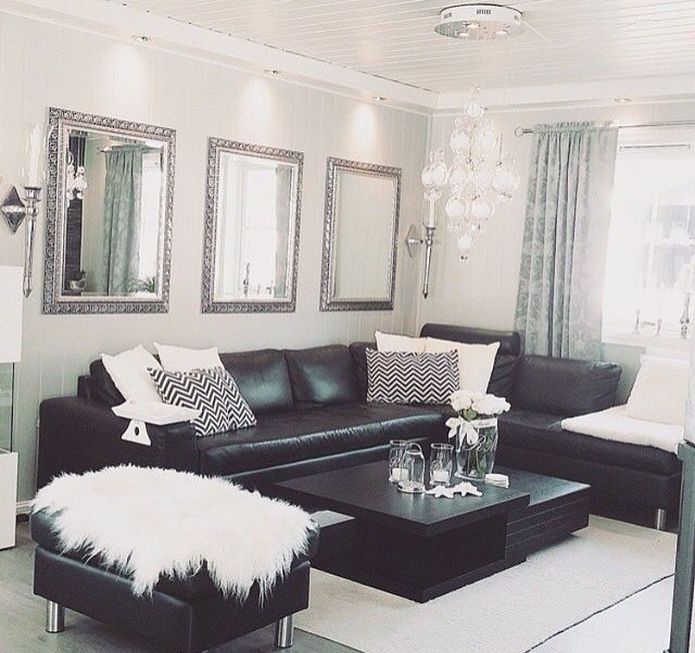 Black White Silver Leather Sofas Fluffy Pillows Crystal Decor Leather Living Room Decor Black And White Living Room Black Dining Room