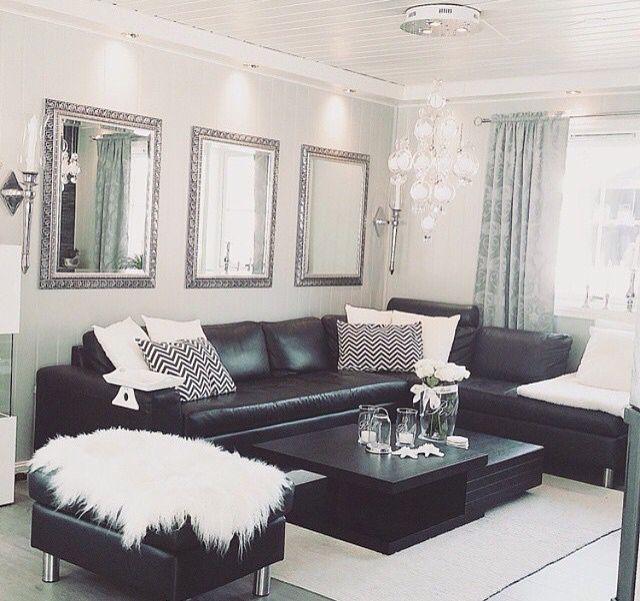Black White Silver Leather Sofas Fluffy Pillows Crystal Decor