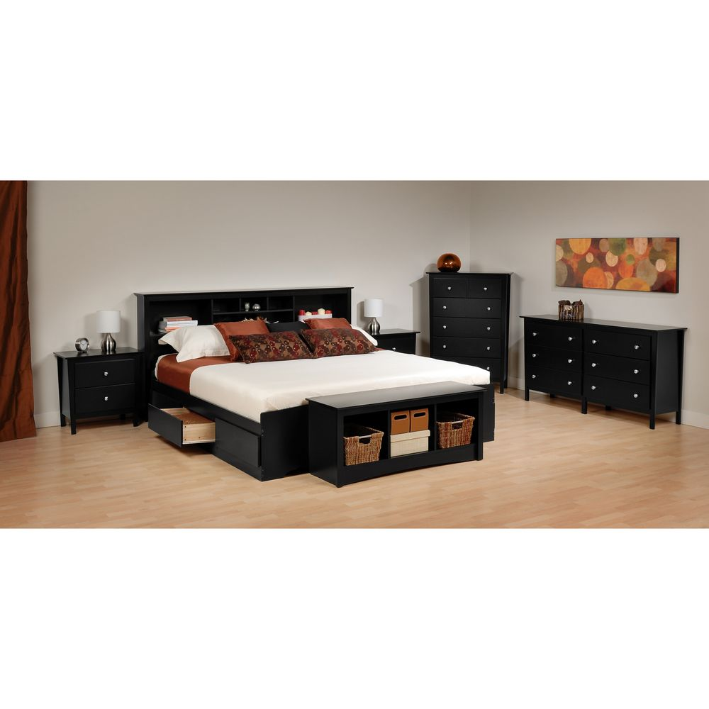 Yaletown black queen 6 drawer platform storage bed - Bedroom sets with drawers under bed ...