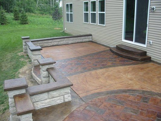 raised, stamped concrete patio. like the idea of a wall | concrete ... - Raised Concrete Patio Ideas