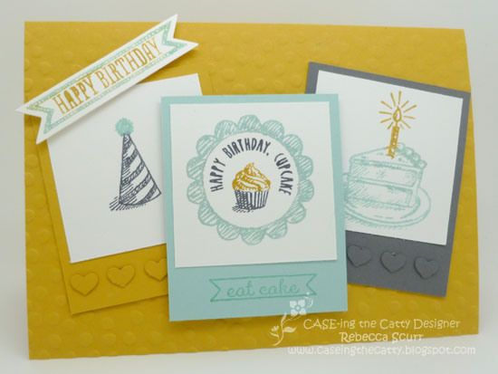 Caseing the Catty Challenge No. 3 - Sketched Birthday - Rebecca Scurr - Independent Stampin' Up! Demonstrator - www.facebook.com/thepaperandstampaddict