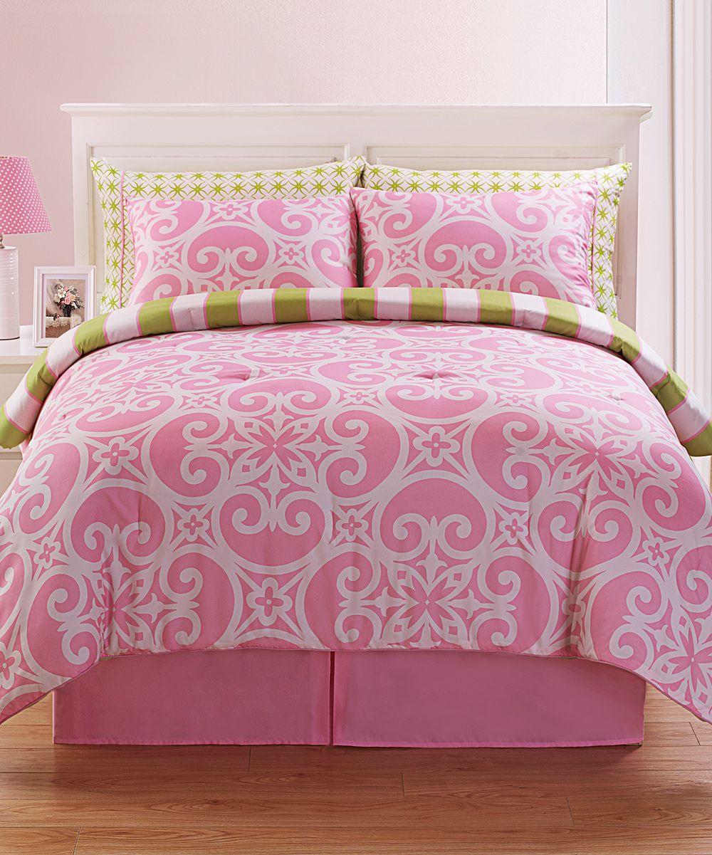 victoria classics pink kennedy comforter set | comforter, bedrooms