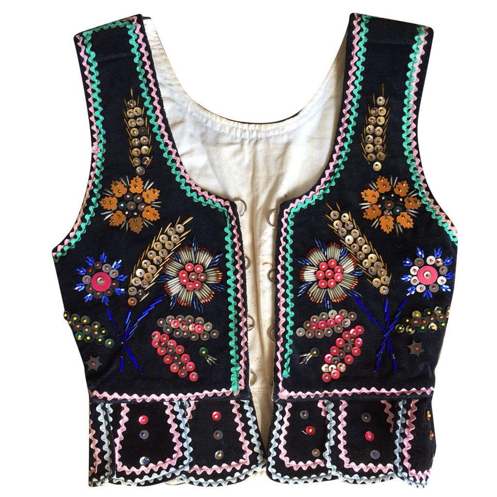 Black Velvet Embroidered Western Vest