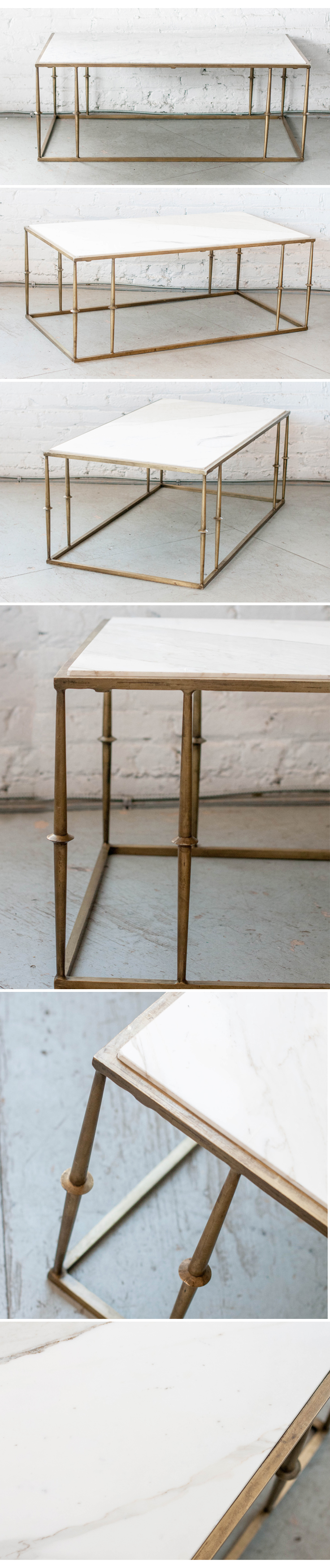 Our marble topped brass Braedon Coffee Table Patina