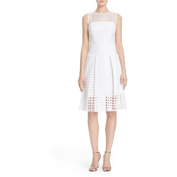Milly Grid Lace Fit & Flare Dress (2,435 MYR) ❤ liked on Polyvore featuring dresses, white, sleeveless dress, white fit-and-flare dresses, white sleeveless dress, sleeveless lace dress and zipper back dress