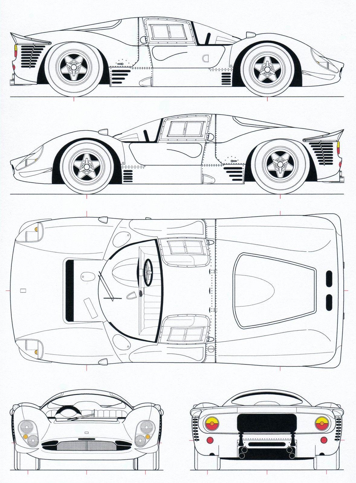 Ferrari Blueprint : ferrari, blueprint, Ferrari, 330p-412p4, Ferrari,, Blueprints,, Drawings