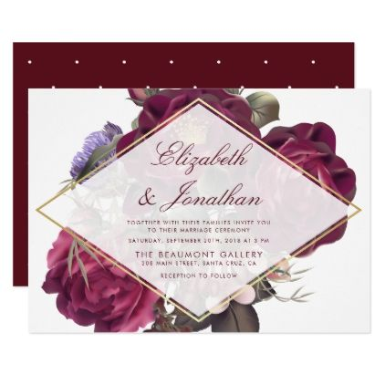 Chic burgundy flowers botanical wedding invitation wedding chic burgundy flowers botanical wedding invitation wedding invitations cards custom invitation card design marriage party stopboris Image collections