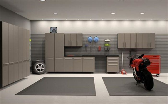 Garage Interior Design Ideas For Your Lovely Motors : Spacious Garage  Interior Design Ideas With Grey