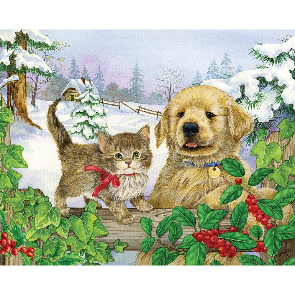 Winter Companions by Jane Maday Christmas tree painting
