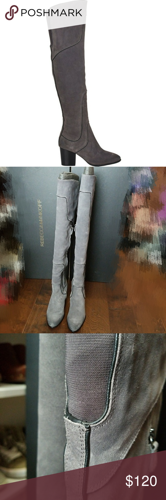 dc22cf36040 Rebecca Minkoff Blessing boots Grey Charcoal Suede Over The Knee Boots  (only worn once) Rebecca Minkoff Shoes Over the Knee Boots