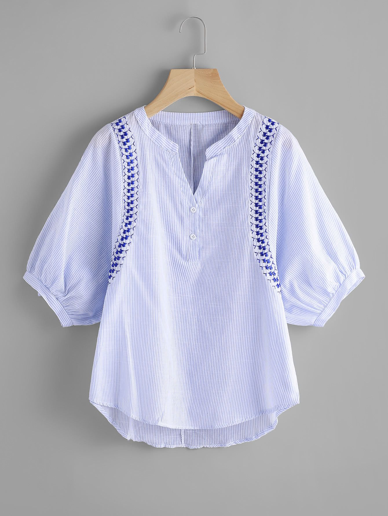 Shop Vertical Striped Embroidery Lantern Sleeve Blouse  online. SheIn offers Vertical Striped Embroidery Lantern Sleeve Blouse  & more to fit your fashionable needs.
