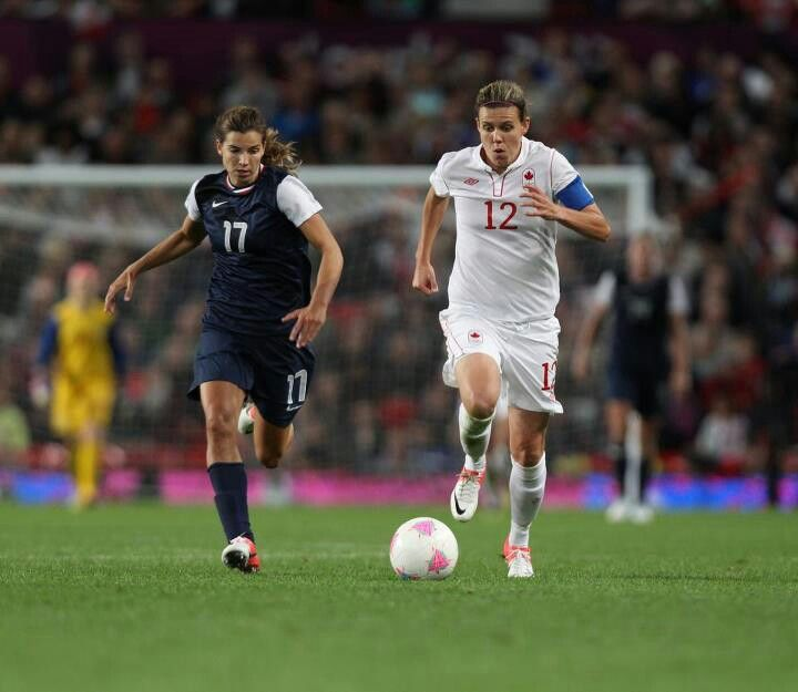 Tobin Heath and Christine Sinclair, favorite players on opposite teams