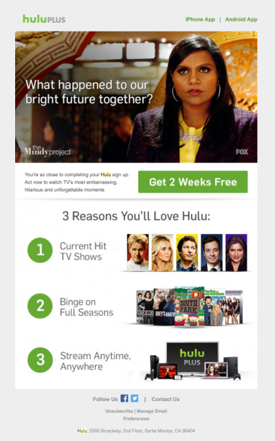 Hulu unsubscribe email