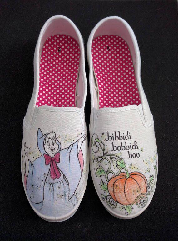 0ce611e7c55 Disney Cinderella Fairy Godmother Hand Painted Wedding Shoes Men Women  Generic white canvas slip ons