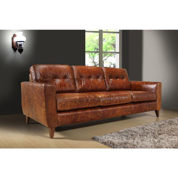 Superb Austin Vintage Brown Leather 3 Seat Sofa