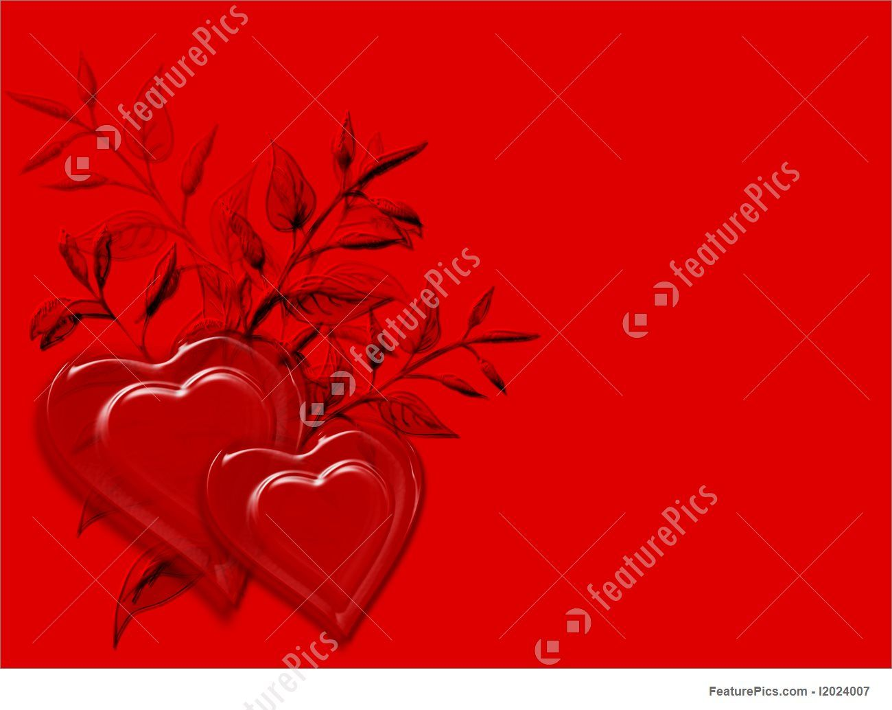 Gold Scroll And Hanging Hearts On Red Background Royalty Free