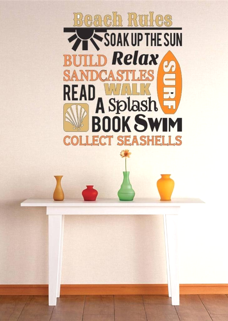 Beach Rules Wall Decal Sticker Httpoceanbeachquotesblogspot - Wall decals beach quotes