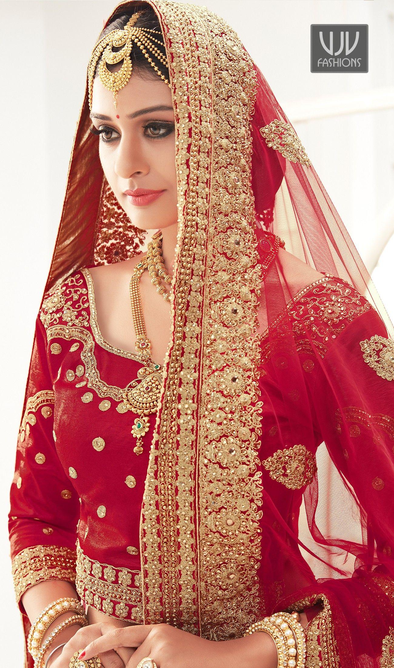 Amazing Red Satin Resham Work Lehenga Choli Bollywood Outfits Indian Wedding Wear Bride Photoshoot