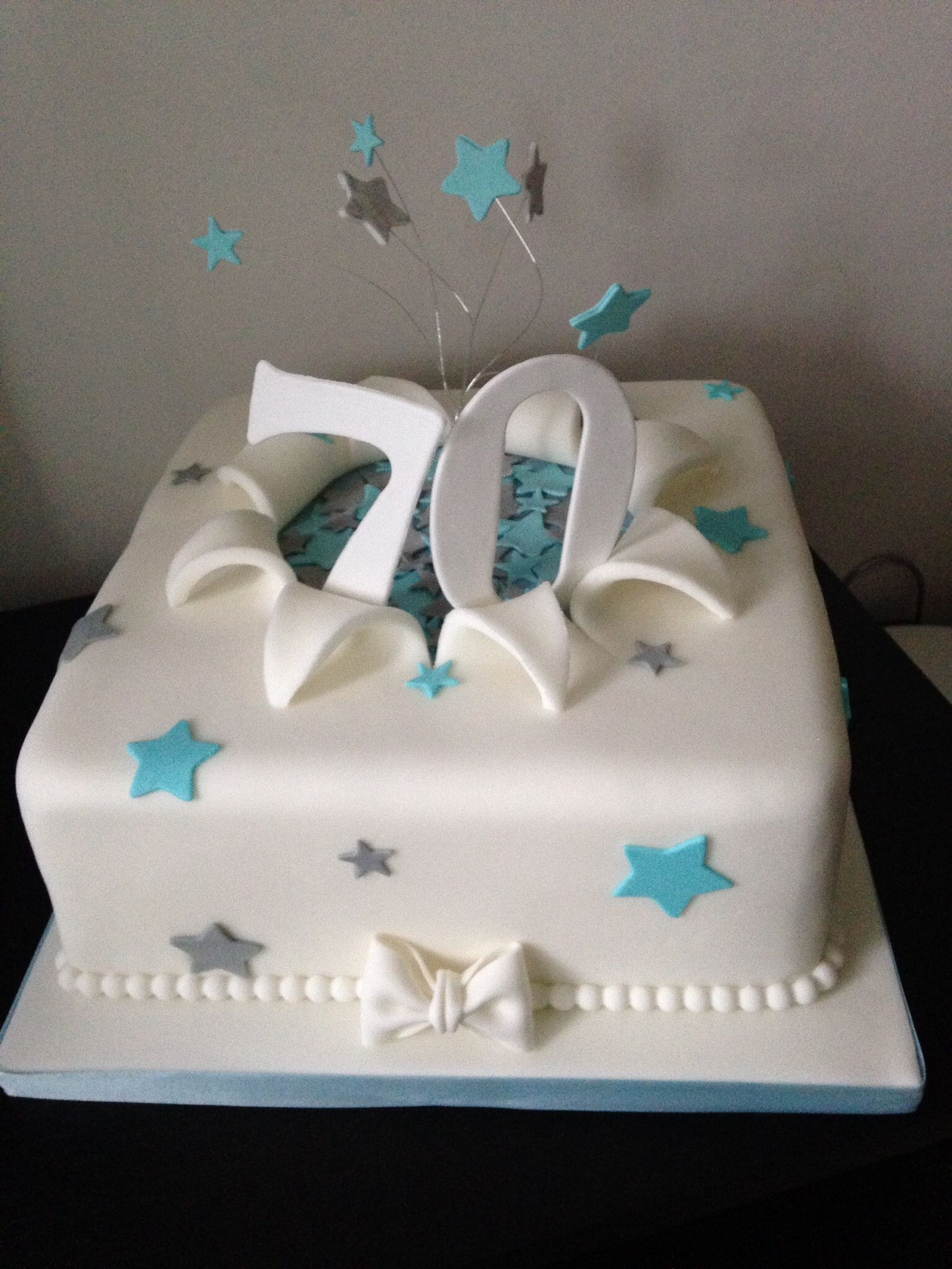 70th Birthday Cake In Turquoise And Silver With Images 70th