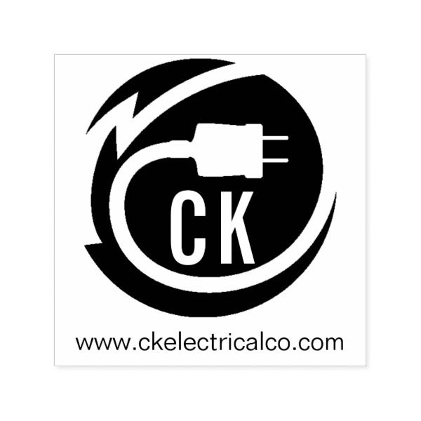 Electrician Logo Design Self Inking Stamp Custom Office Supplies Business Branding