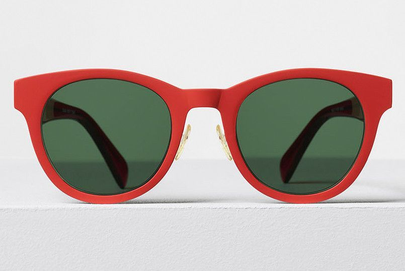 Celine - Mila Red Titanium and Acetate Sunglasses, Green Lenses