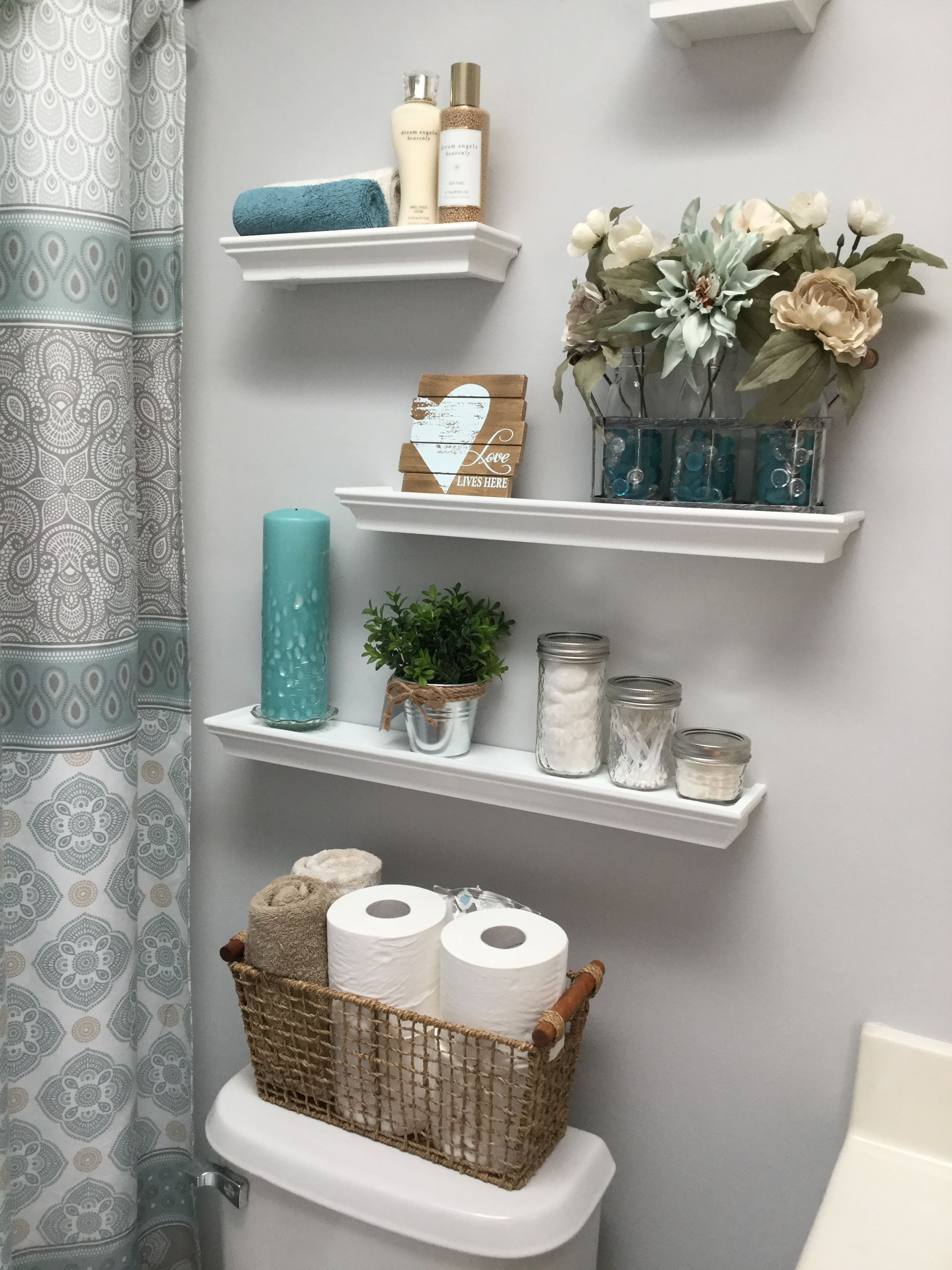 7+ Bathroom Floating Shelves Design to Save Room | Restroom decor ...