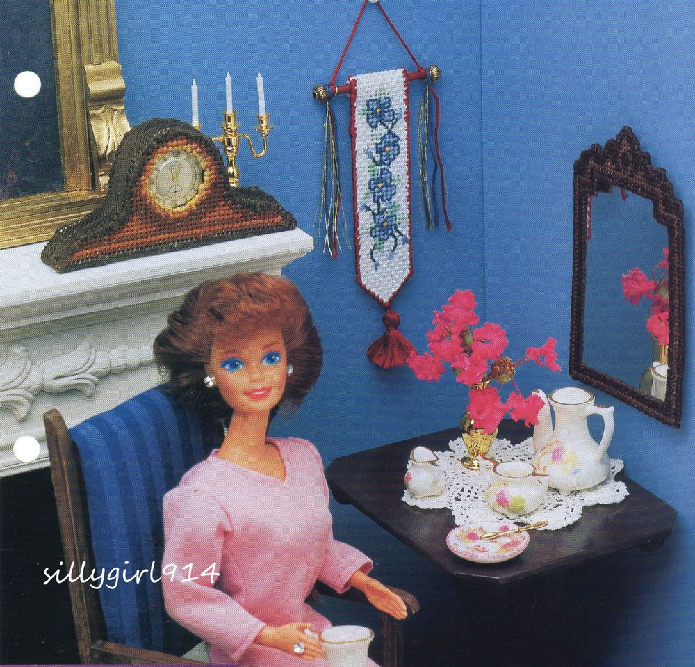"""""""MANTLE CLOCK~BELL PULL++""""~Plastic Canvas PATTERN ONLY for BARBIE FASHION DOLL #AnniesAttic"""