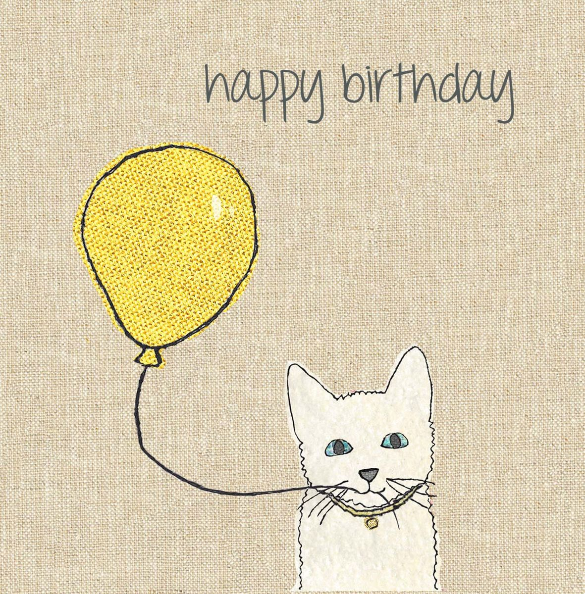A very cute birthday card which has a white cat holding a yellow – Cat Birthday Card
