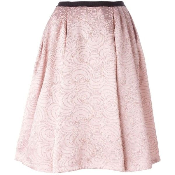 Antonio Marras flared brocade skirt ($560) ❤ liked on Polyvore featuring skirts, pink, pink flare skirt, flared hem skirt, flare skirt, rayon skirt and brocade skirt