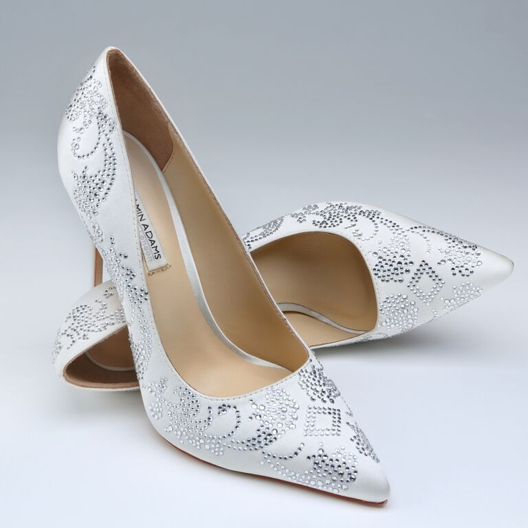 Benjamin Adams Saskia Ivory Silk Swarovski Crystal Designer Wedding Shoes Laceandfavour