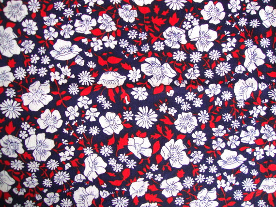 Vintage 60s Red White and Blue Flower Fabric by ...