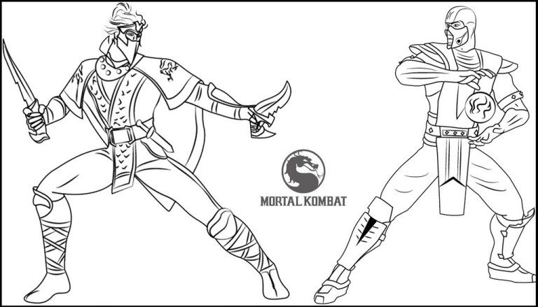 Rain Vs Sub Zero from Mortal Kombat Coloring Page | Mortal Kombat ...