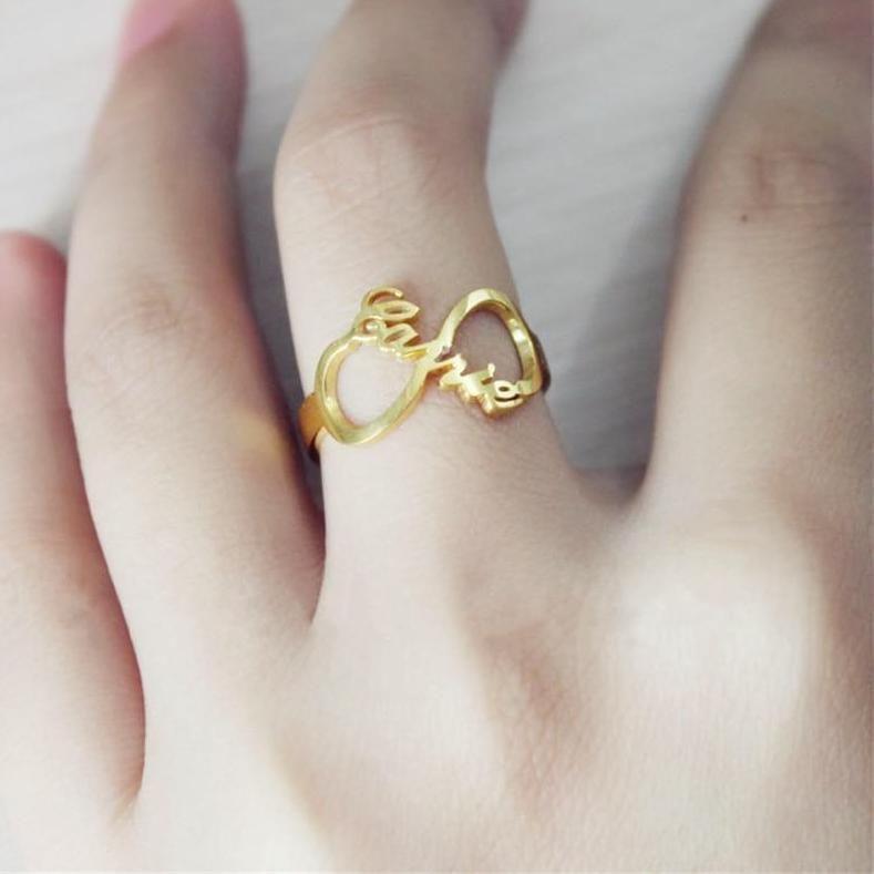 Custom Infinity Name Ring – Resizable Gold