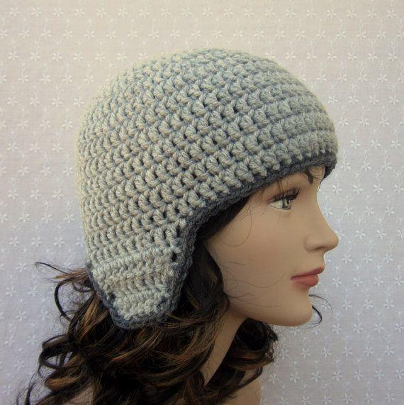 Crochet aviator beanie pattern free   Gray Earflap Crochet Hat - Womens Aviator Beanie - Fall Winter Fashion ...