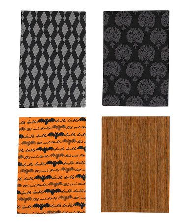 Take a look at this Halloween Haunts Assorted Dish Towel Set by Park Designs on #zulily  --maybe I could find some fabric to DIY these, but have many more..