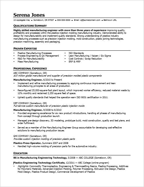 View this sample resume for a midlevel manufacturing engineer to - process engineer sample resume