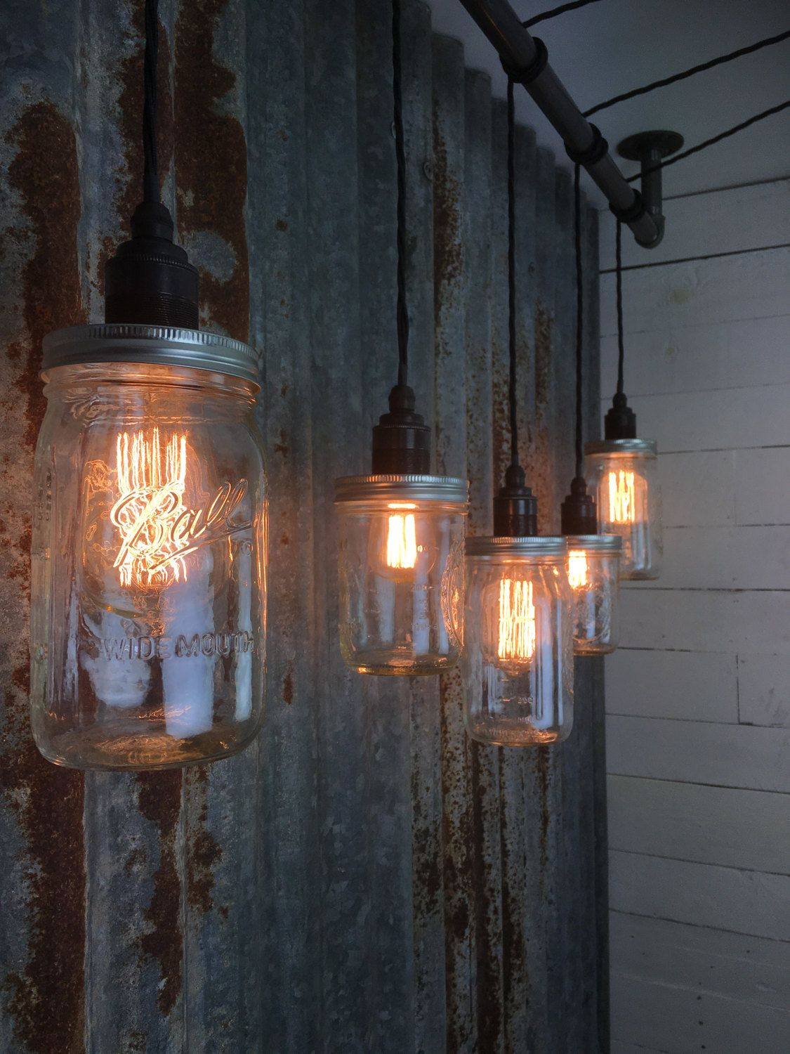 Handmade Urban Bar Pendant Light Mason Jar