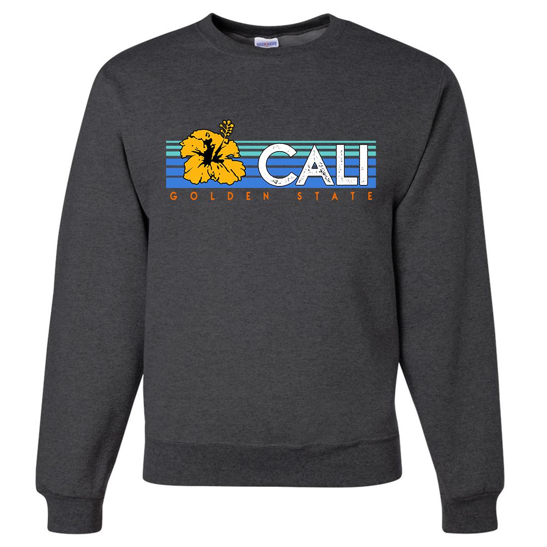 Cali Golden State Hibiscus Crewneck Sweatshirt Crew neck