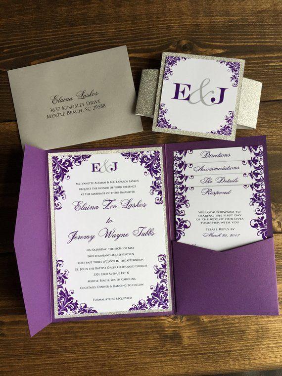 Pocketfold Wedding Invitations - Wedding Invitations - Silver