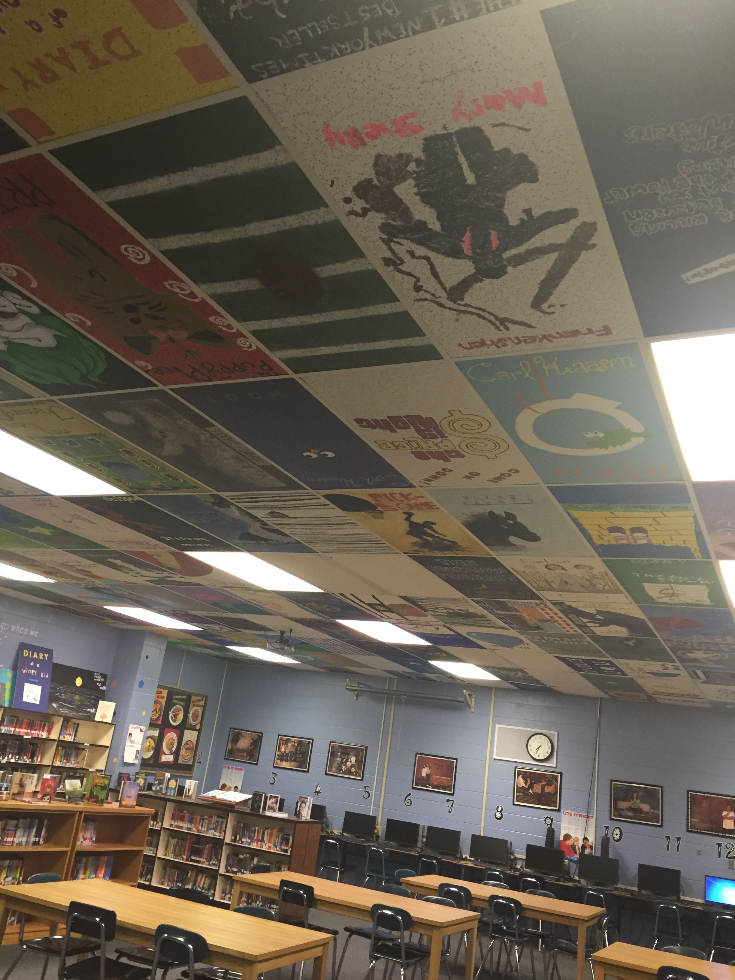 Student painted ceiling tile book covers livens up our library student painted ceiling tile book covers livens up our library dailygadgetfo Gallery